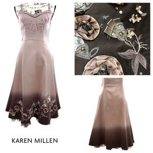 Karen Millen 100% Silk Embellished Ombré Dress